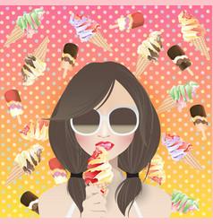 woman ice cream lover on ice cream background vector image