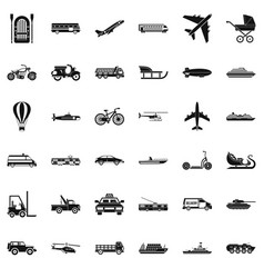 Working transport icons set simple style vector