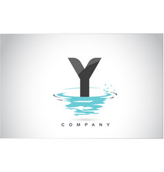y letter logo design with water splash ripples vector image