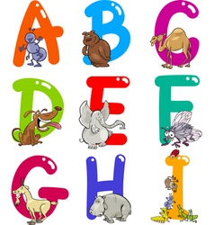 Cartoon Colorful Alphabet with Animals vector image vector image