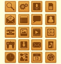Leather Emboss Smartphone Icon vector image