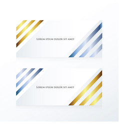 Line abstract banner gold and blue vector