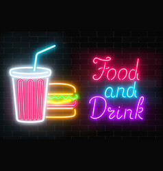 neon food and drink glowing signboard on a dark vector image