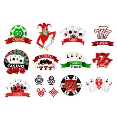 Colored casino and poker icons vector image