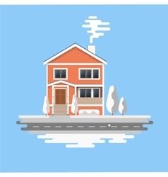 Flat house winter Christmas vector image