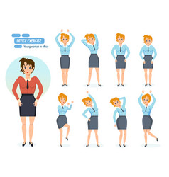 girl in office in various poses and situations vector image