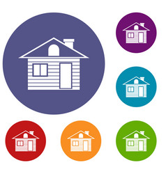 wooden log house icons set vector image