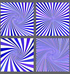 Blue spiral and ray burst background set vector