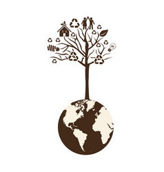 brown color world with tree of recycling vector image