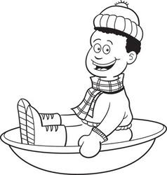 Cartoon boy on a snow sled vector image vector image