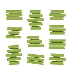 Green ribbon banners set blank decoration vector image vector image