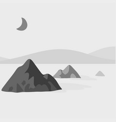mountain and lake in the night with moon vector image