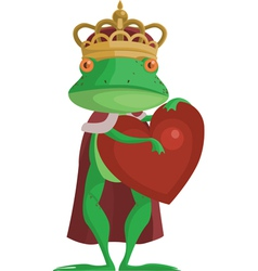 The frog prince with an heart vector