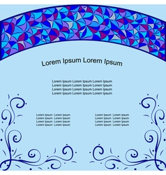 card with stained glass window pattern vector image
