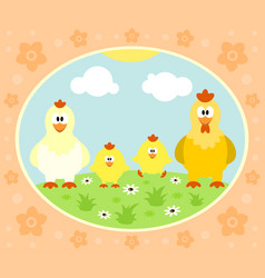 farm background with chicken vector image