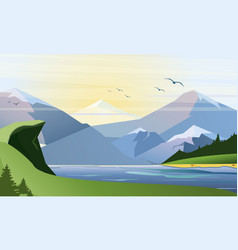 flat of nature background with vector image vector image