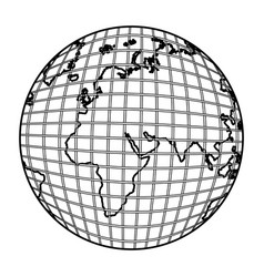 gobal planet map icon vector image vector image