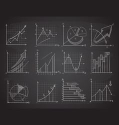 hand drawing business statistics data graphs vector image