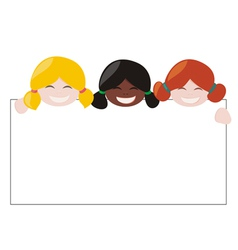 Mulicultural girls holding white empty banner vector image