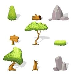 Natural landscape elements collection vector