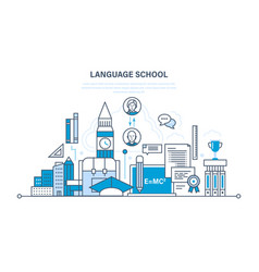 school foreign language learning modern education vector image