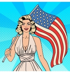 Usa independence day woman with american flag vector