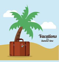 vacations summer time beach suitcase palm vector image