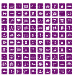 100 construction icons set grunge purple vector