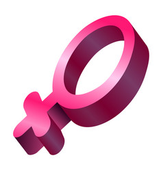 3d female gender symbol vector image