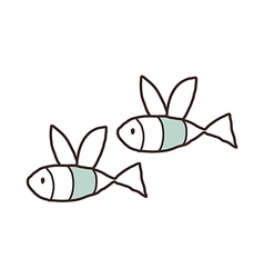A pair of flying fishes vector