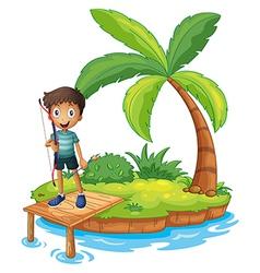 An island with a boy holding an archery vector