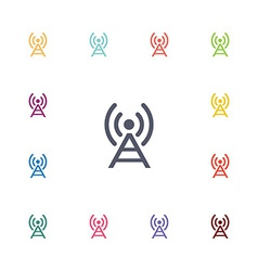antenna flat icons set vector image