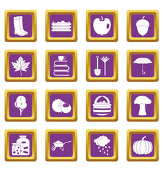 Autumn icons set purple vector