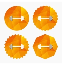 Barbell sign icon Muscle lifting symbol vector image