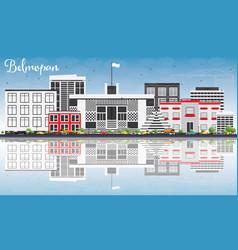 Belmopan skyline with gray buildings blue sky vector