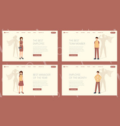 best worker landing page template set vector image