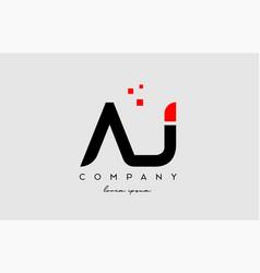 Black red aj a j alphabet letter logo icon vector