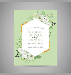 botanical wedding invitation save date card vector image