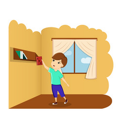 boy with book in room a vector image