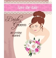 bride with bouquet roses vector image