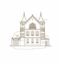 brown drawing of a mansion vector image