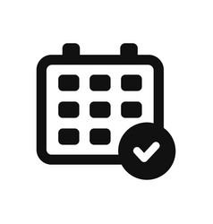calendar and checked icon in modern design style vector image