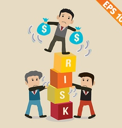 Cartoon Businessman with risk management concept vector