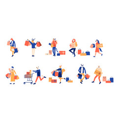 cartoon characters with bags carrying shopping vector image