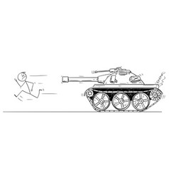 Cartoon man or civilian running from army vector
