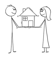 Cartoon of man and woman holding family house of vector
