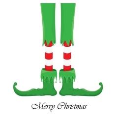 Christmas cartoon elfs legs on white background vector