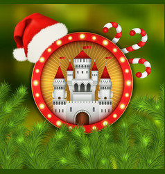 christmas white castle santa cap and fir-tree vector image
