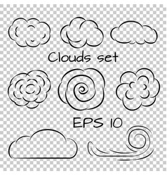 clouds set line icons vector image