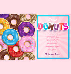 colorful glazed donuts for ads sweet glossy vector image